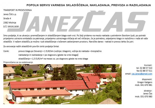 Skladiščenje blaga in CNC obdelava kovin, Janez Čas s.p.