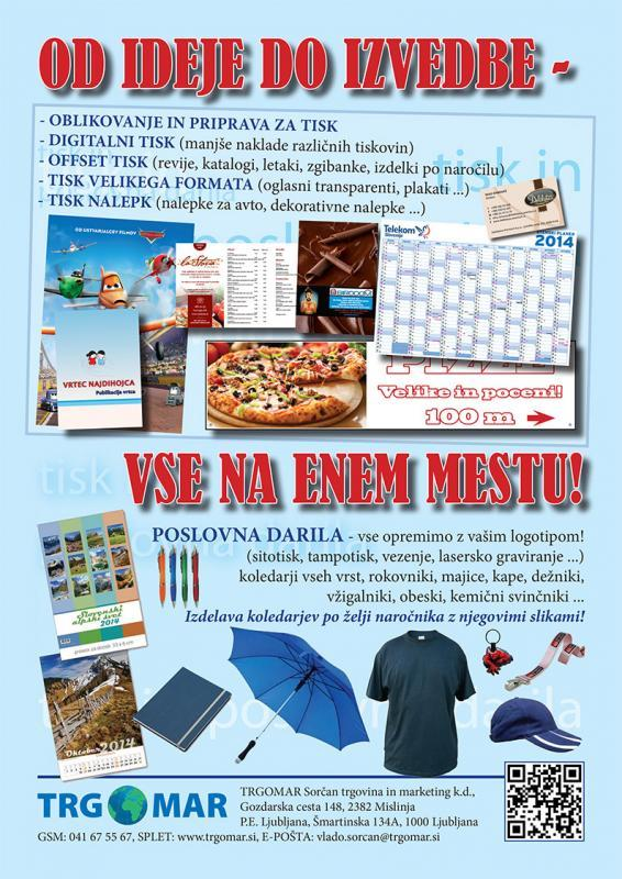 Trgomar, oblikovanje in tisk promocijskih daril, letakov, plakatov