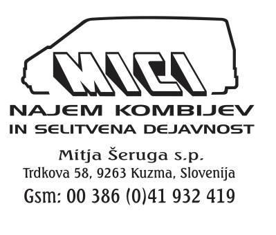 MICI, najem kombijev in selitvena dejavnost, Mitja Šeruga s.p.