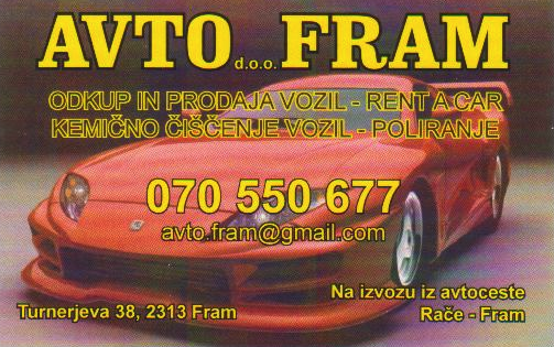 Avto Fram d.o.o., prodaja in odkup vozil
