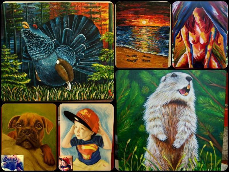Klavdija Bogataj, portreti, živali, poslikave na kamnih