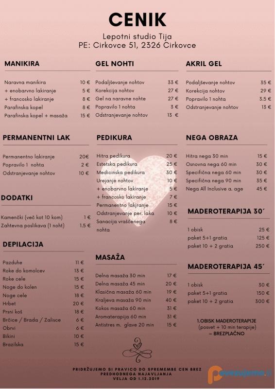 Lepotni studio Tija, kozmetične storitve, Tina Preisak s.p.